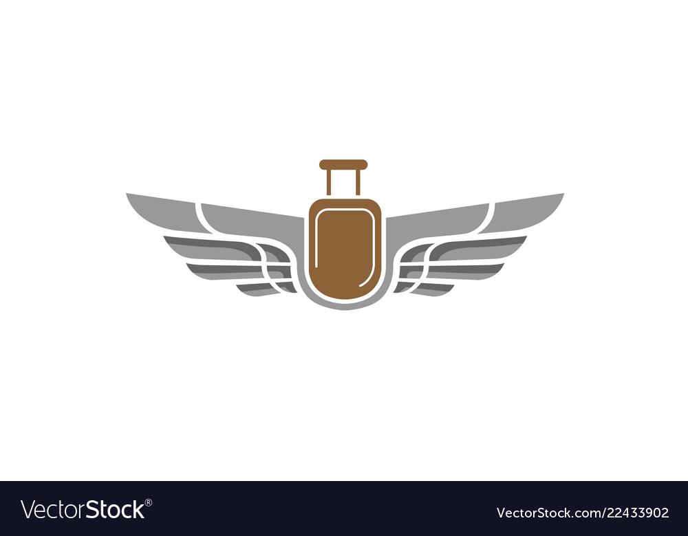 Sharp wings and air bag travel creative logo
