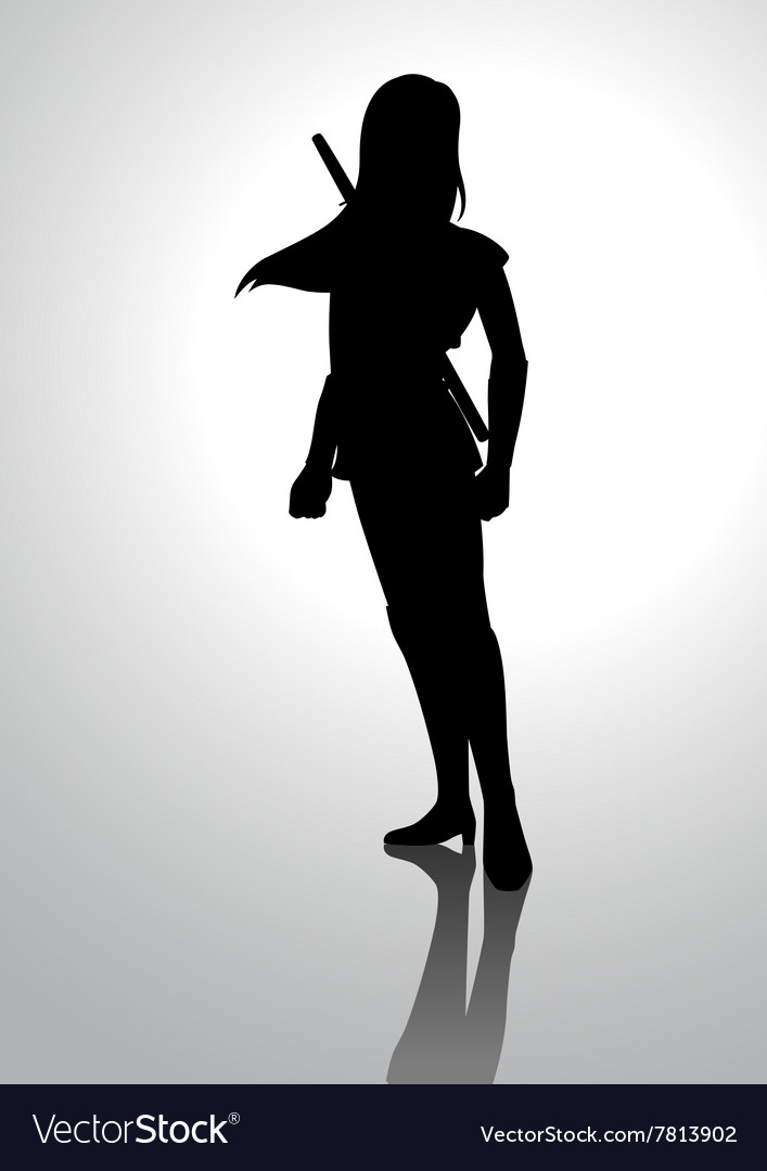 Silhouette of a warrior girl vector image