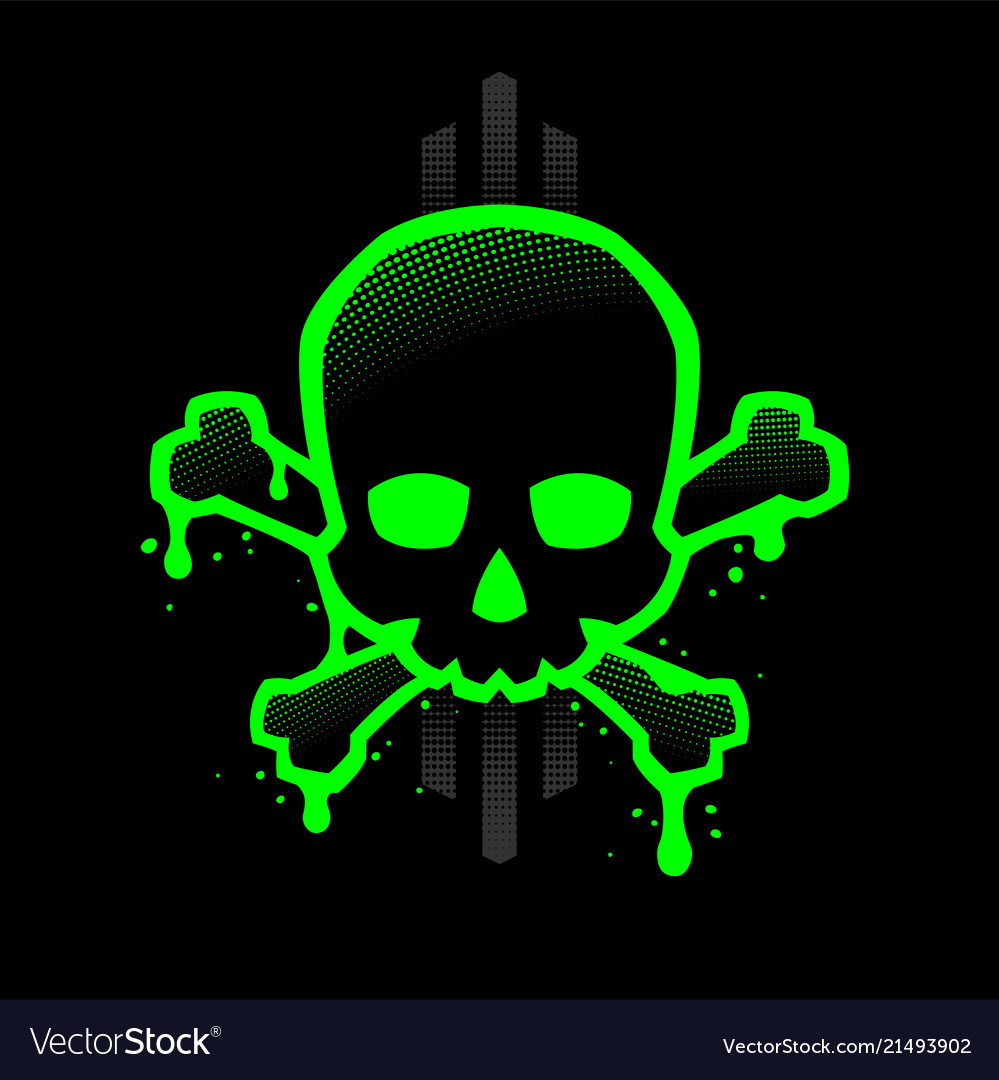 Skull with a bright green outline with paint
