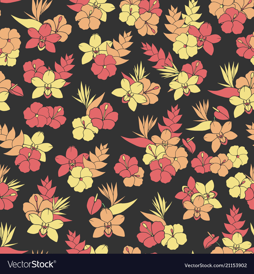 Tropical repeat pattern with orchid hibiscus