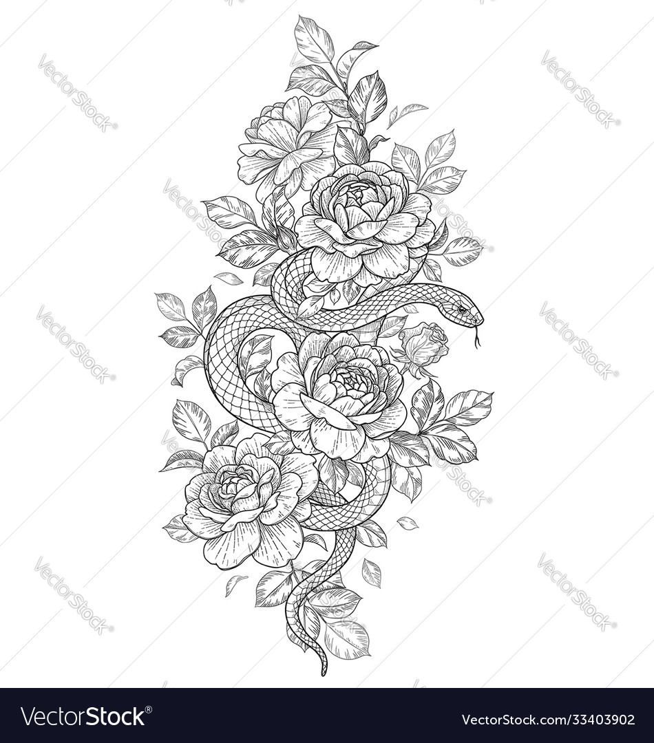 Twisted snake and rose flowers