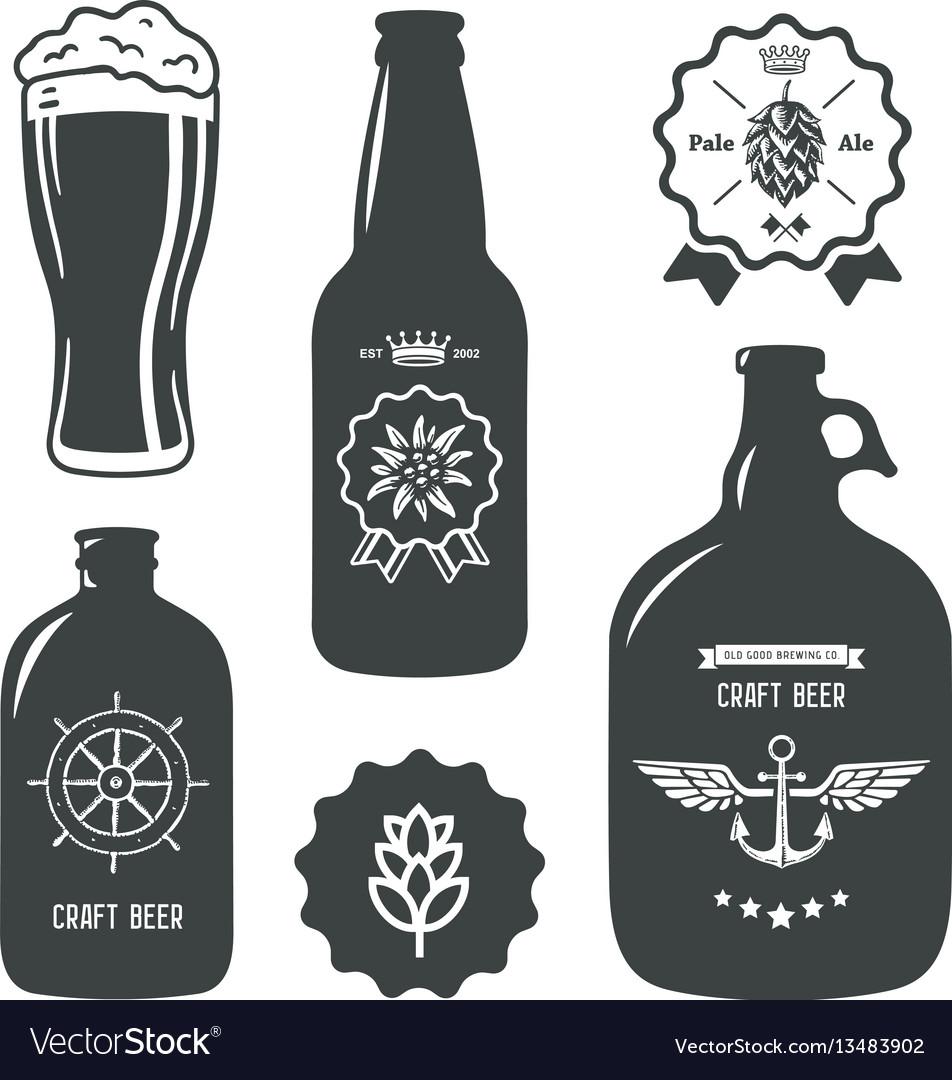 Vintage craft beer brewery bottles label sign vector image