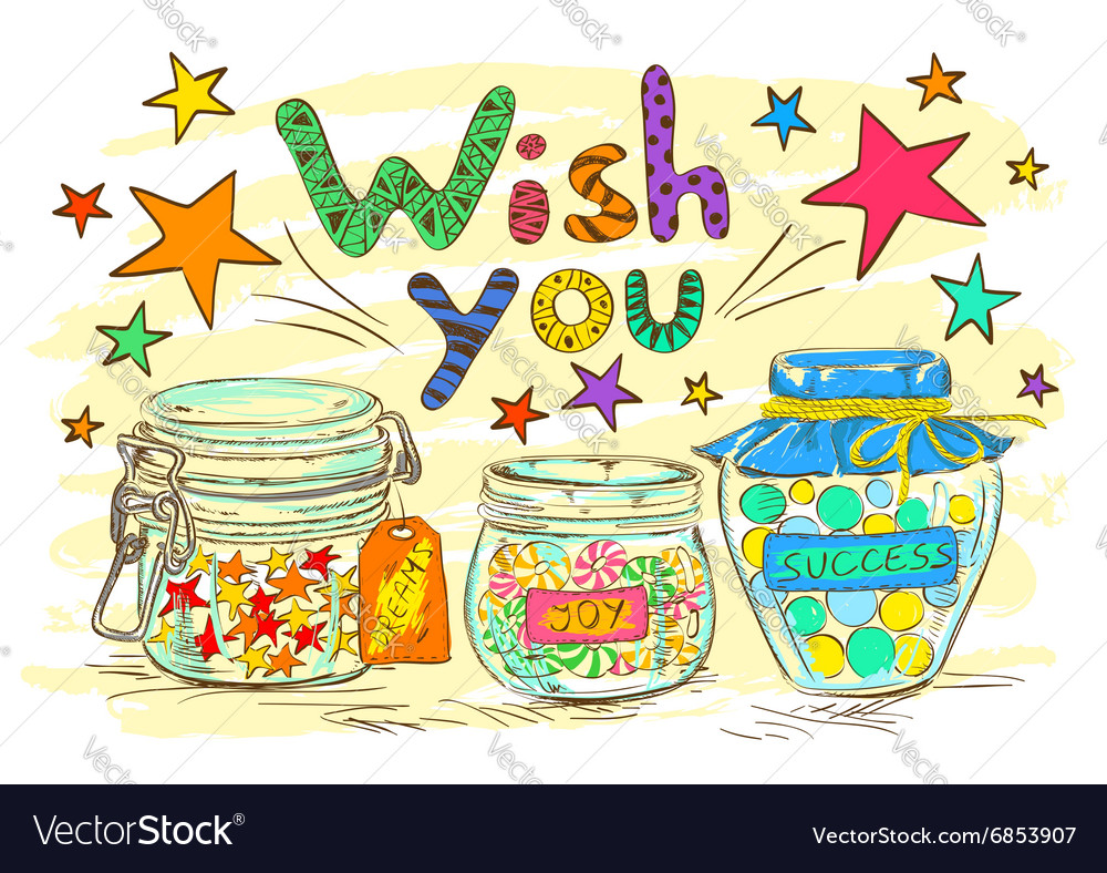 Birthday Greeting Card With Jars And Wishes Vector Image