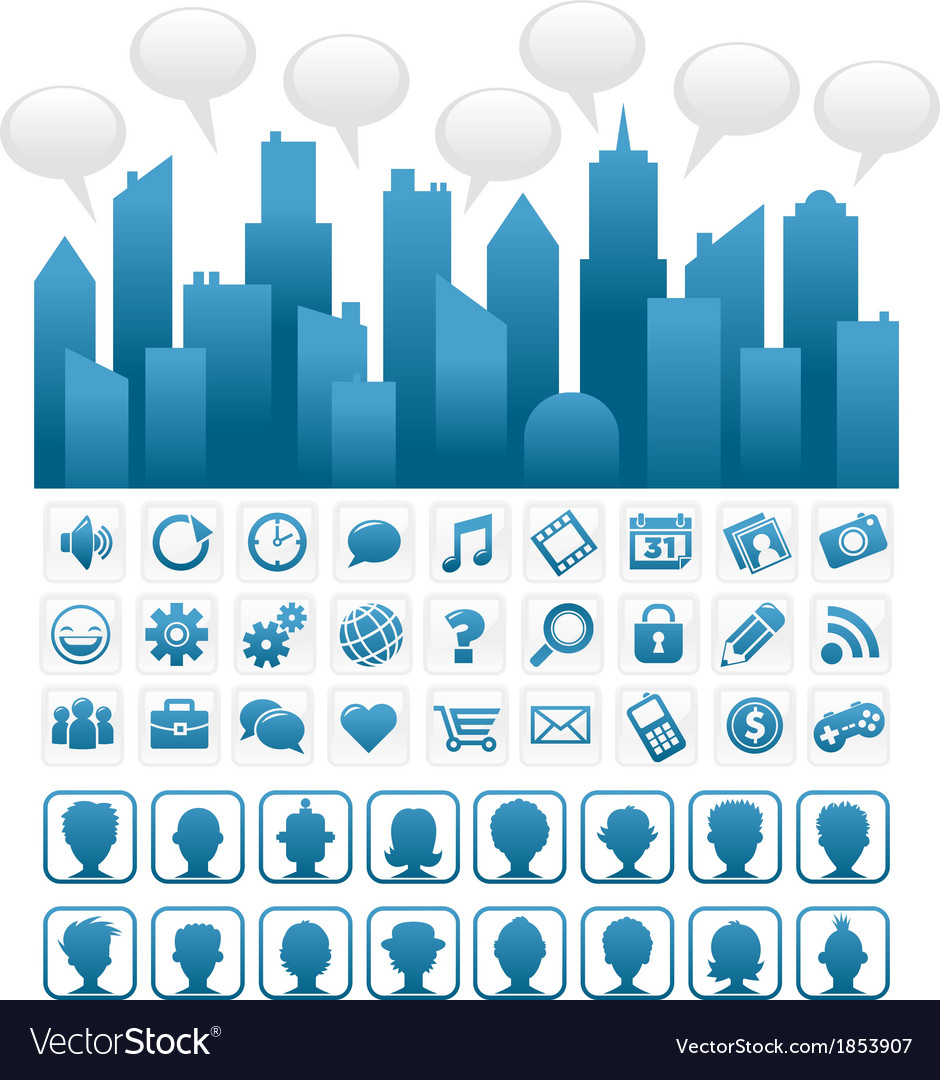 Blue Socia Media City and Icons vector image