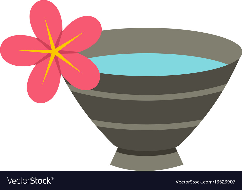 Bowl with water for spa icon flat style vector image