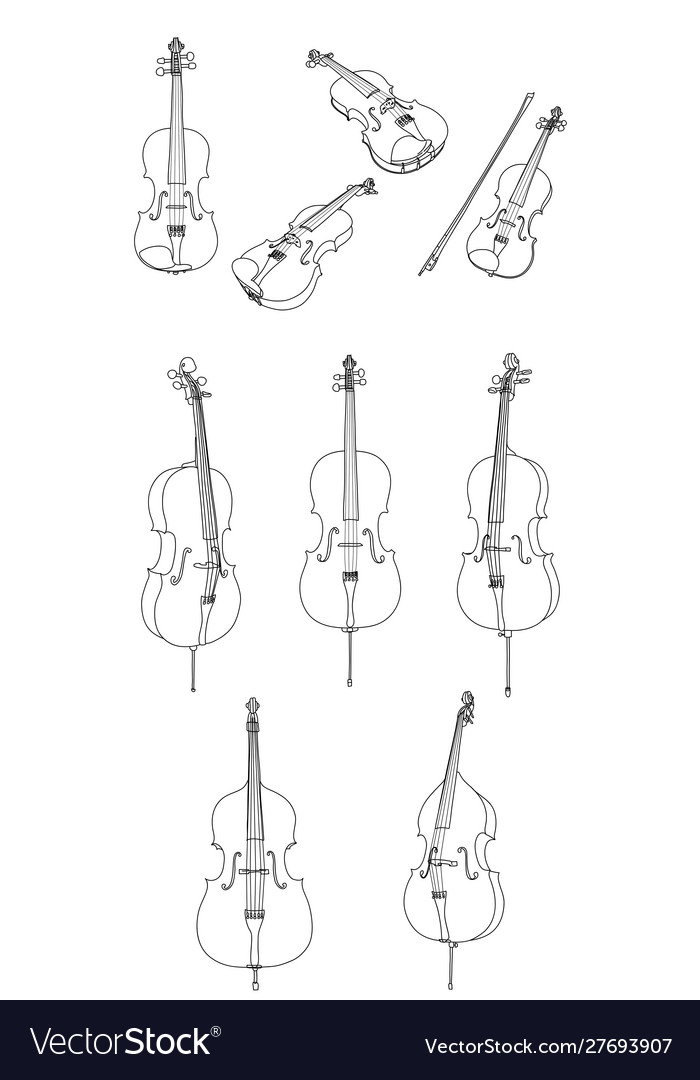 Classic Violin Alt Cello Double Bass And Bow