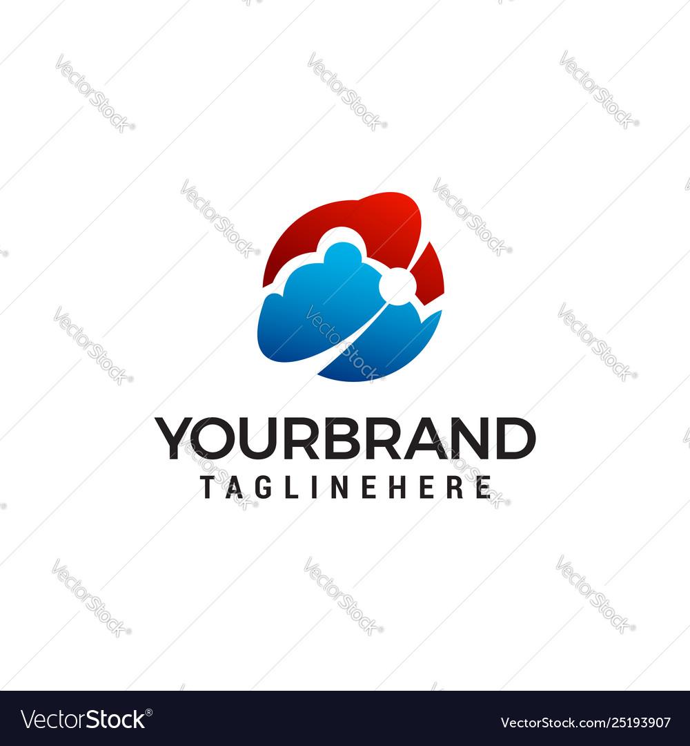 Cloud technology logo design concept template