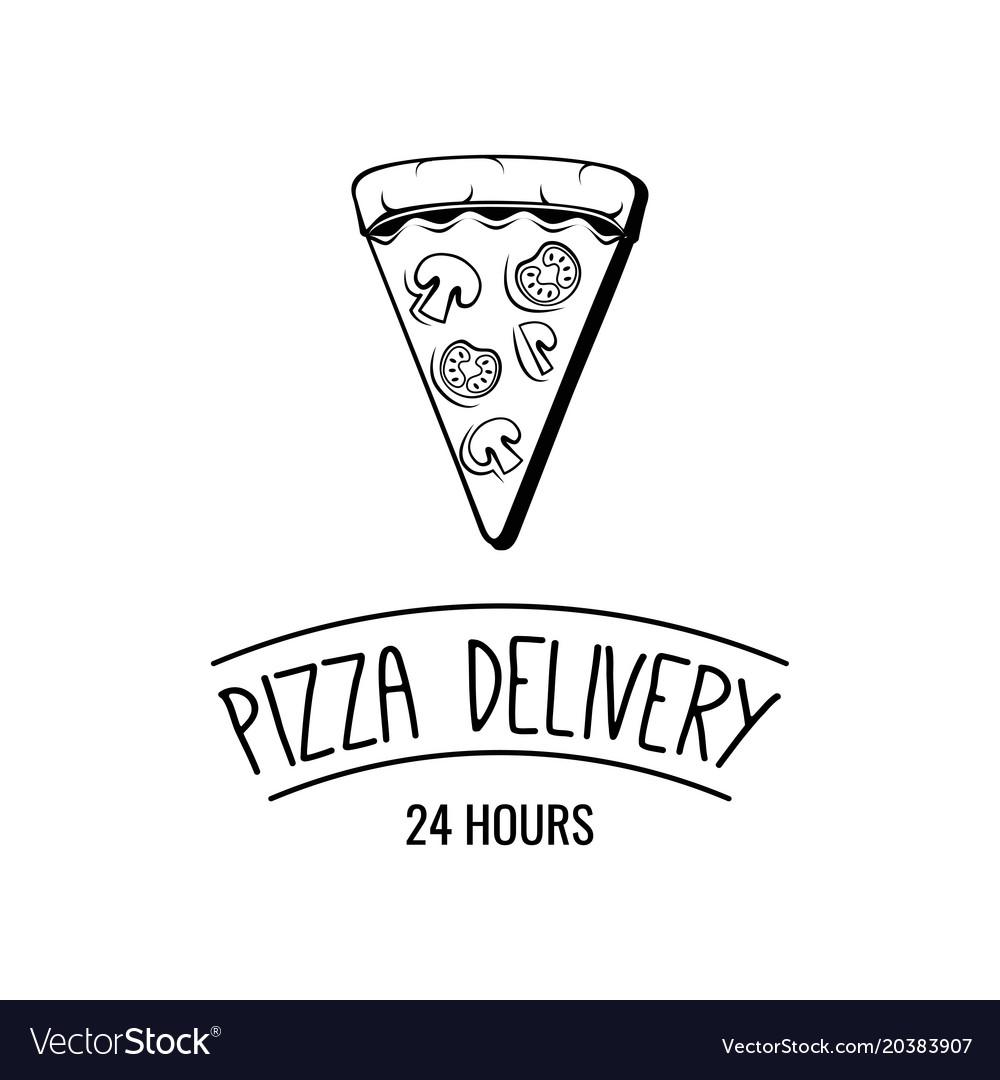 Delicious pizza slice pizza delivery logo emblem
