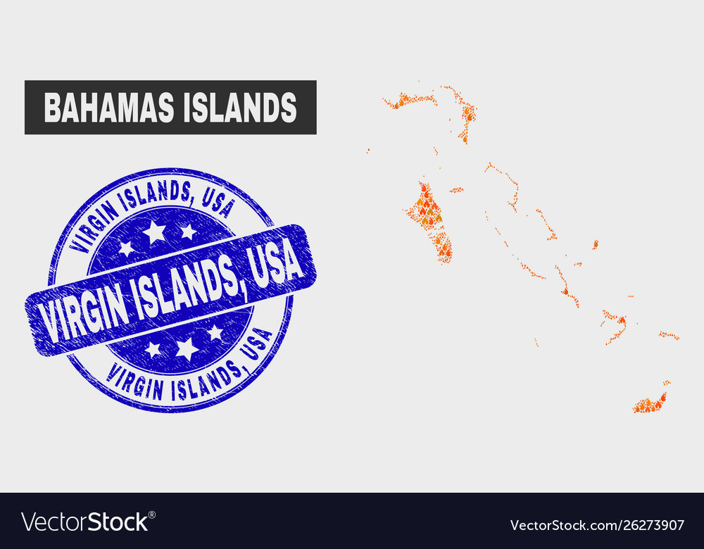 Flame mosaic bahamas islands map and distress