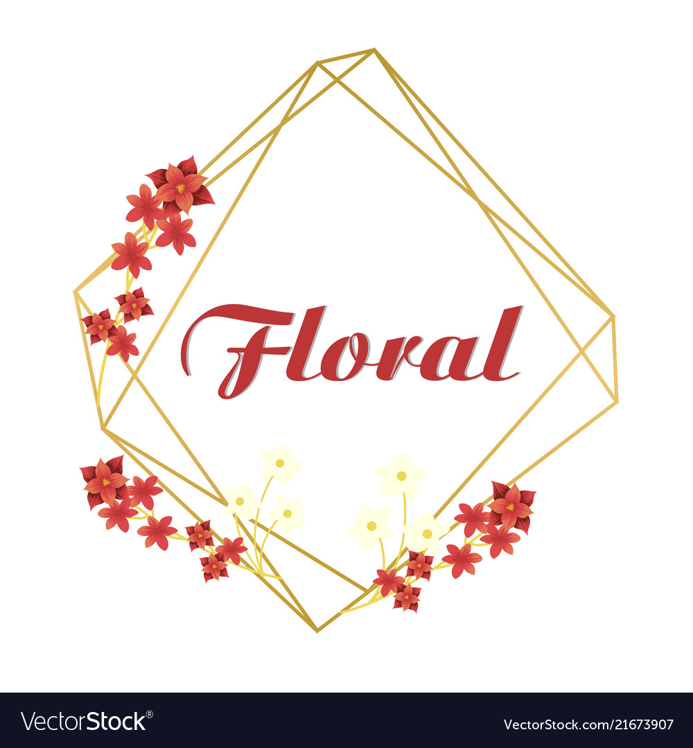 Floral red flower geometry design pink background