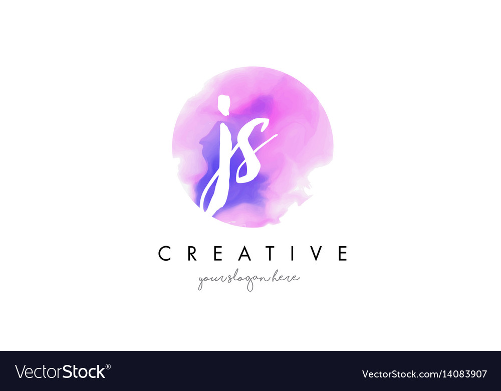 Js watercolor letter logo design with purple