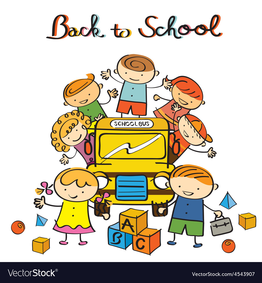 Back to school vector. Kids and bus