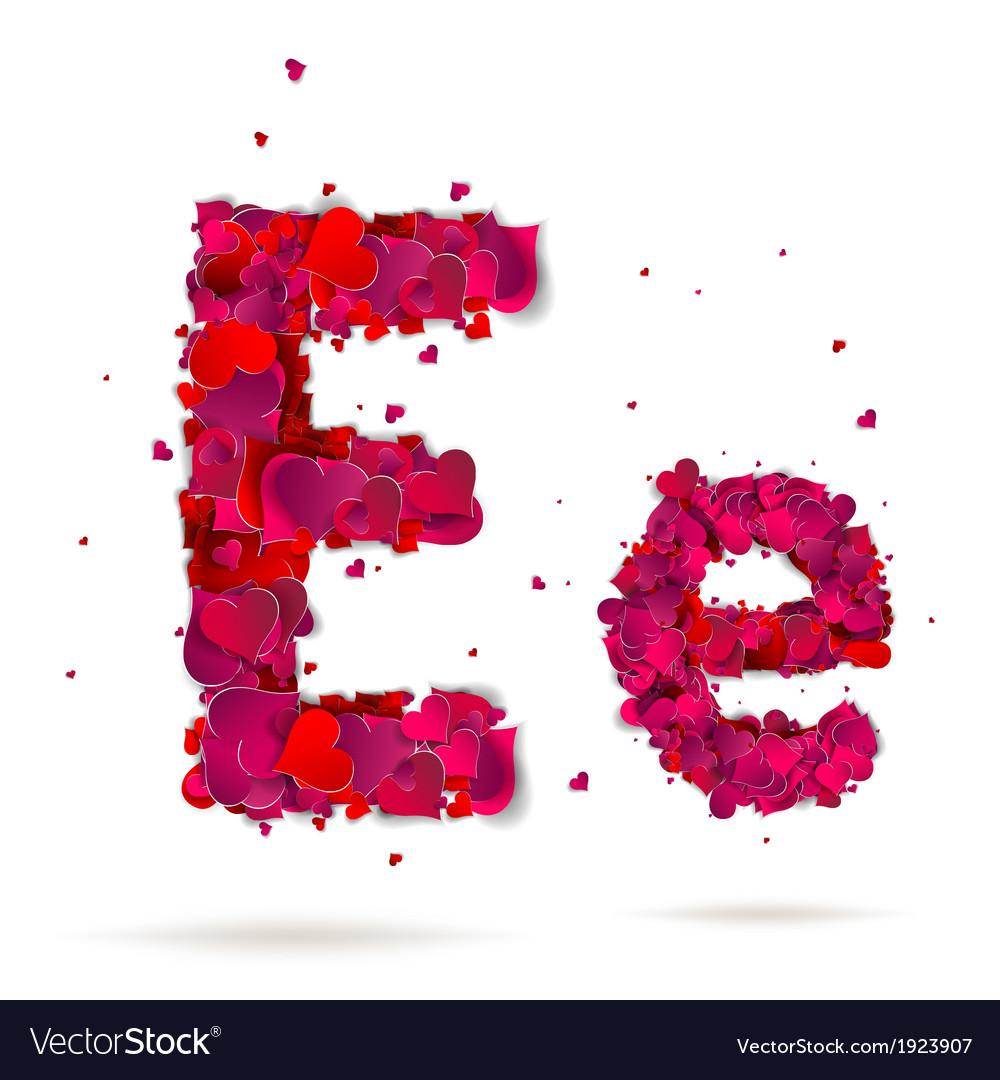 Letter e made from hearts love alphabet royalty free vector letter e made from hearts love alphabet vector image altavistaventures Images