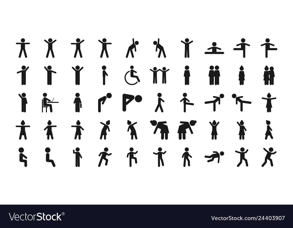 Man basic posture people sitting standing icon