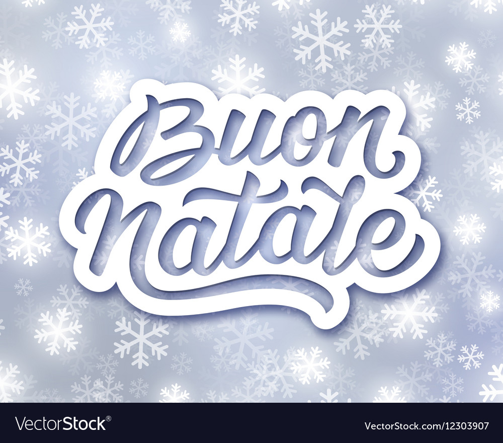 Merry Christmas hand lettering text in italian Vector Image