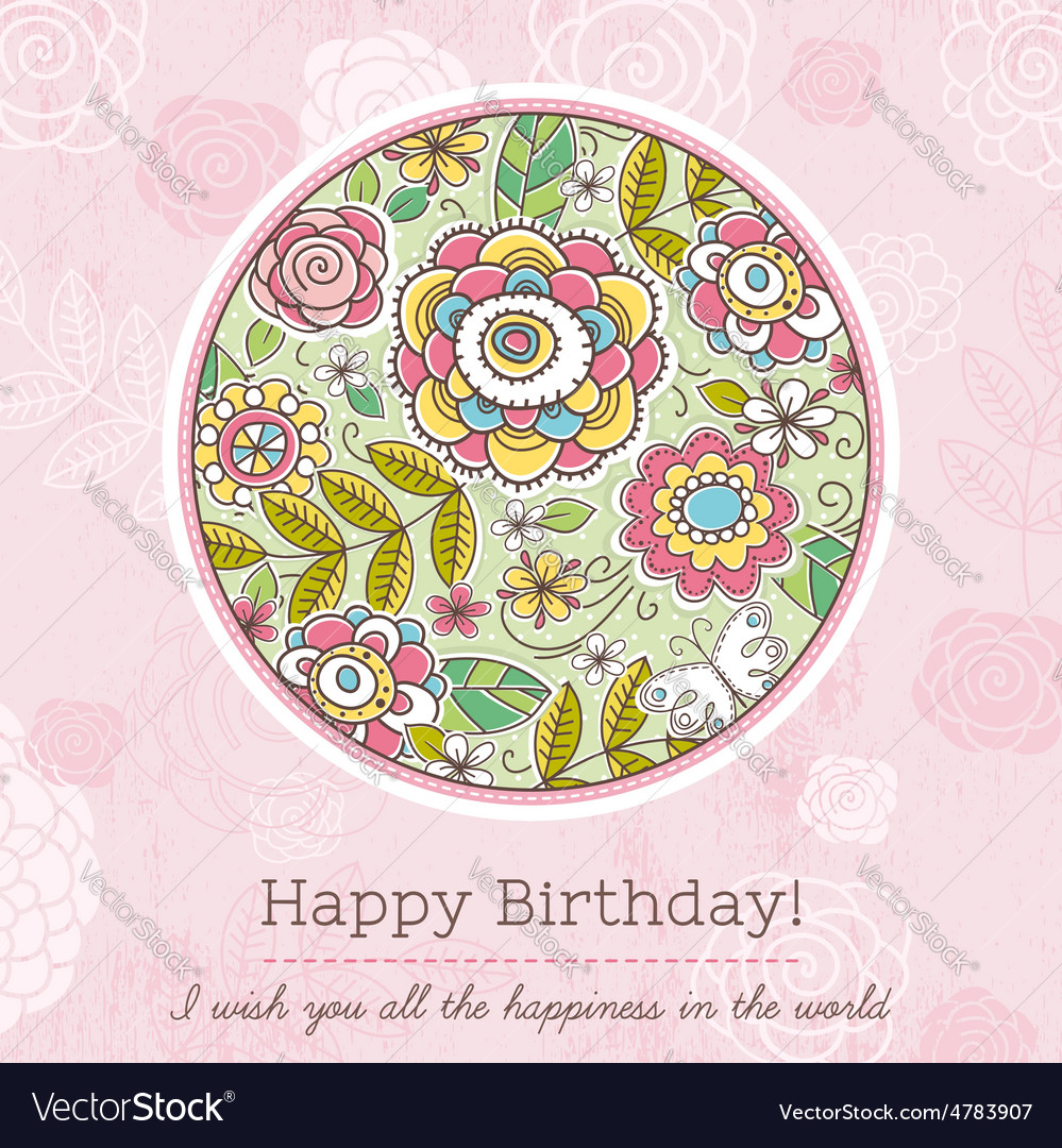 Pink birthday card with big round of spring flower