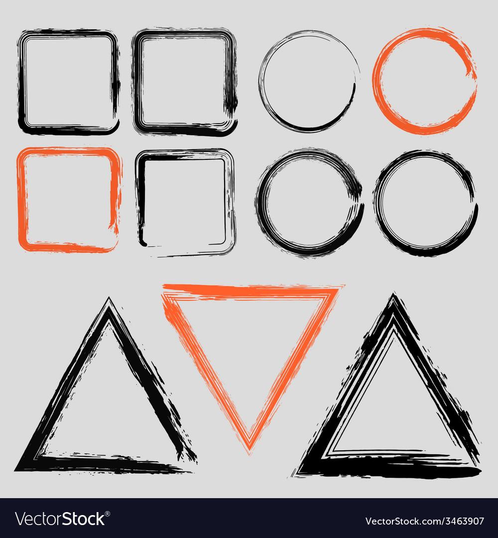Set of grunge charcoal frames of different shapes