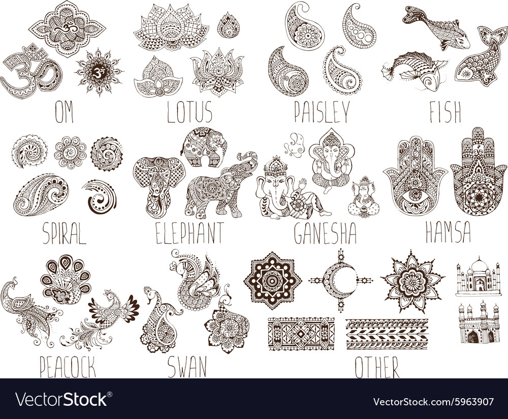 Set of sketches mehndi