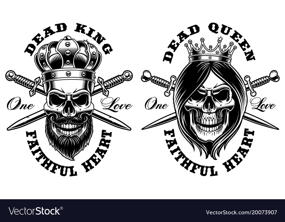 249a08b43 Set of skulls king and queen Royalty Free Vector Image