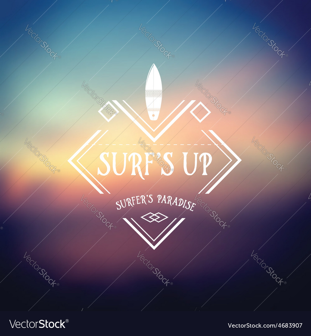 Surf vintage retro poster Hawaii beach wave banner