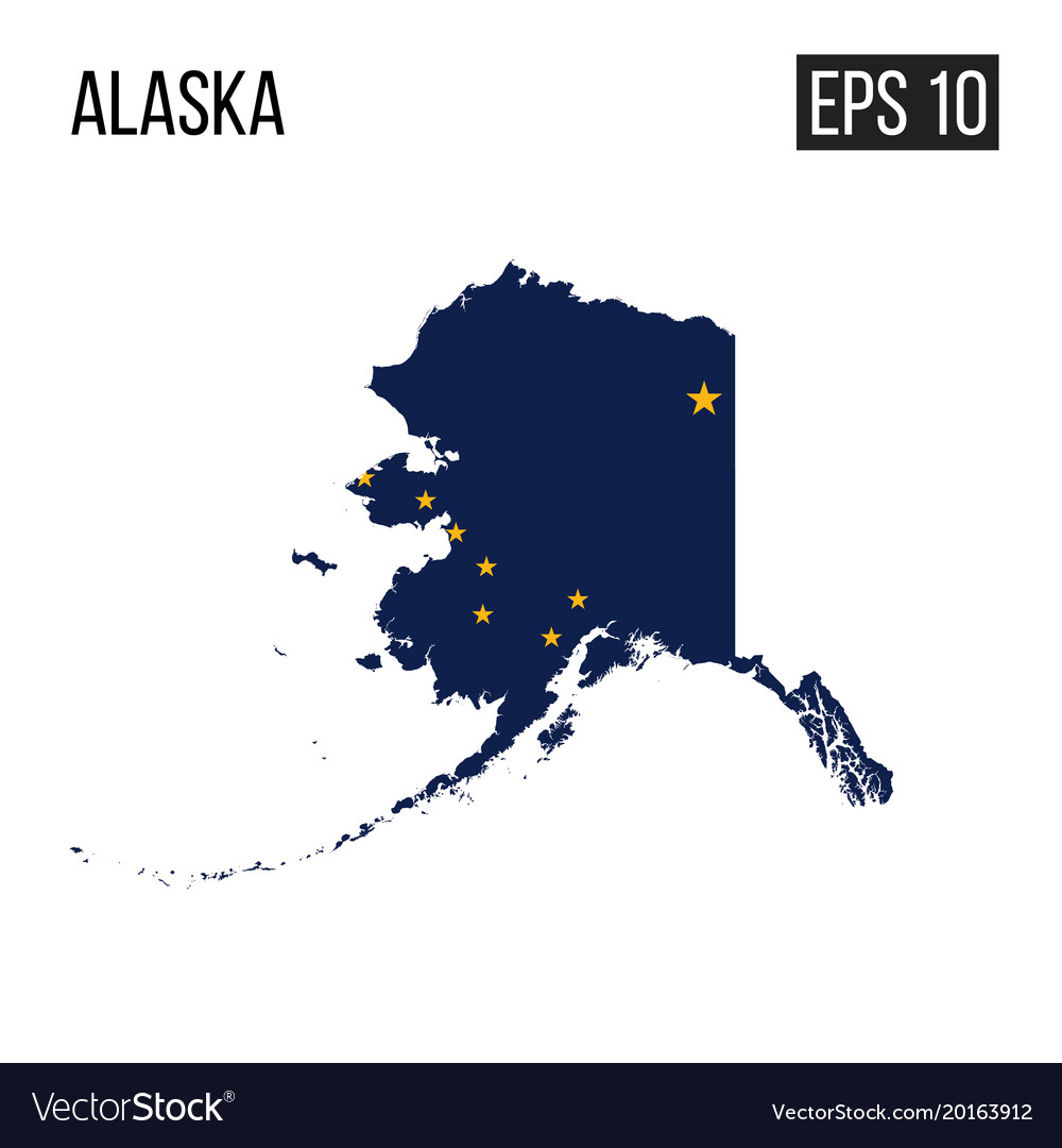 Alaska Map Images, Alaska Map Border With Flag Eps10 Vector Image, Alaska Map Images