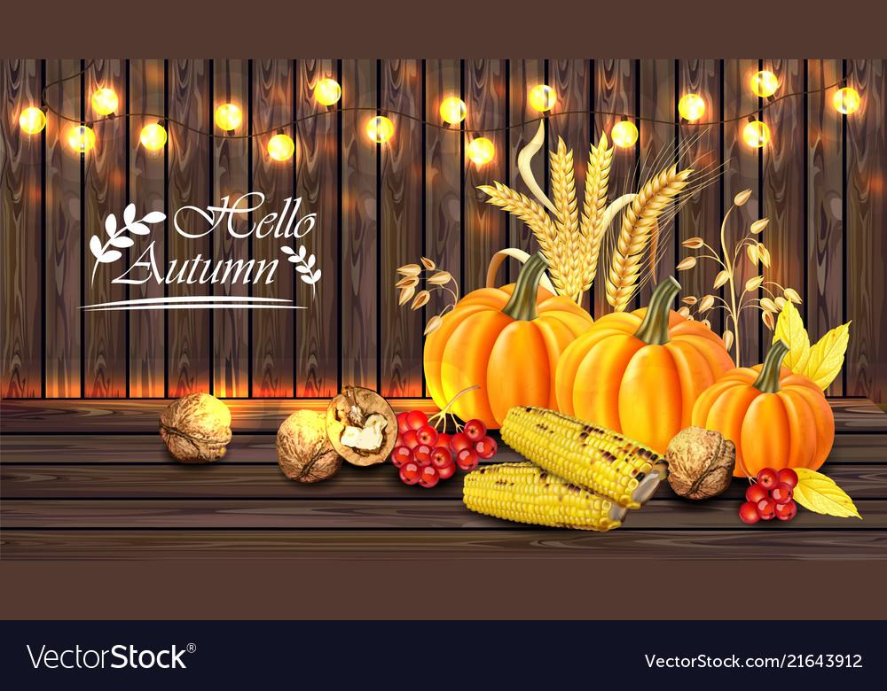 Autumn harvest card realistic with pumpkin