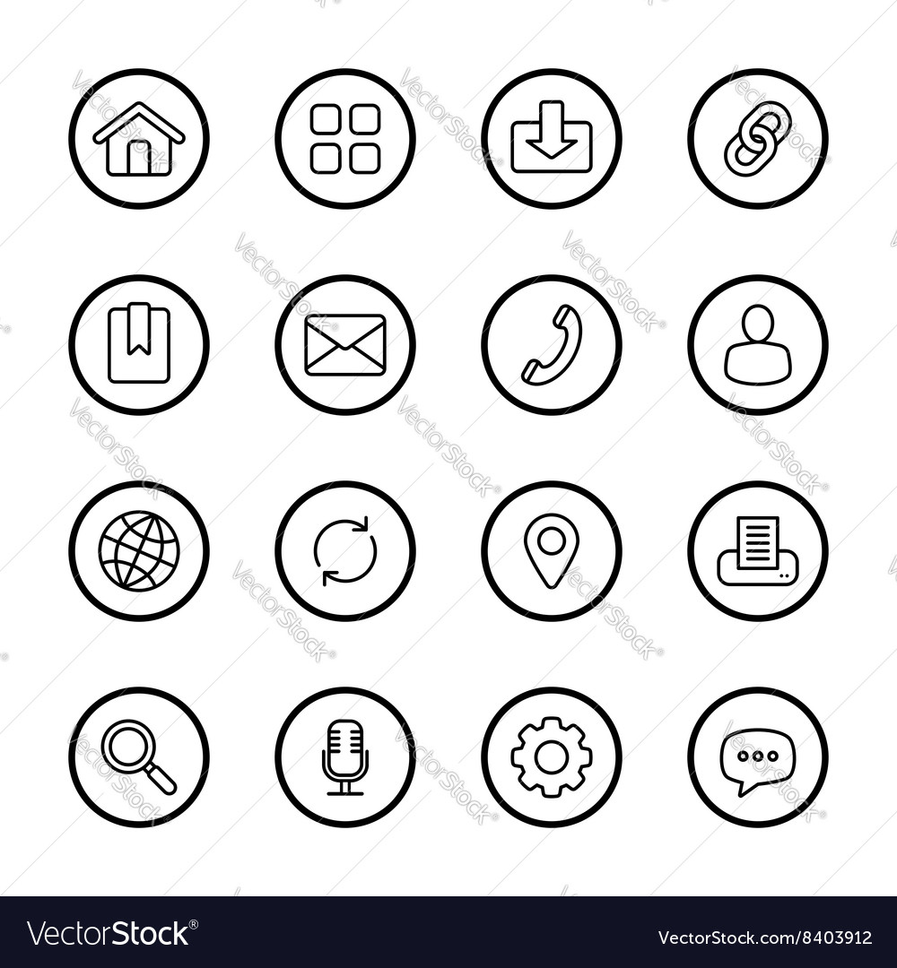 Black line web icon set circle