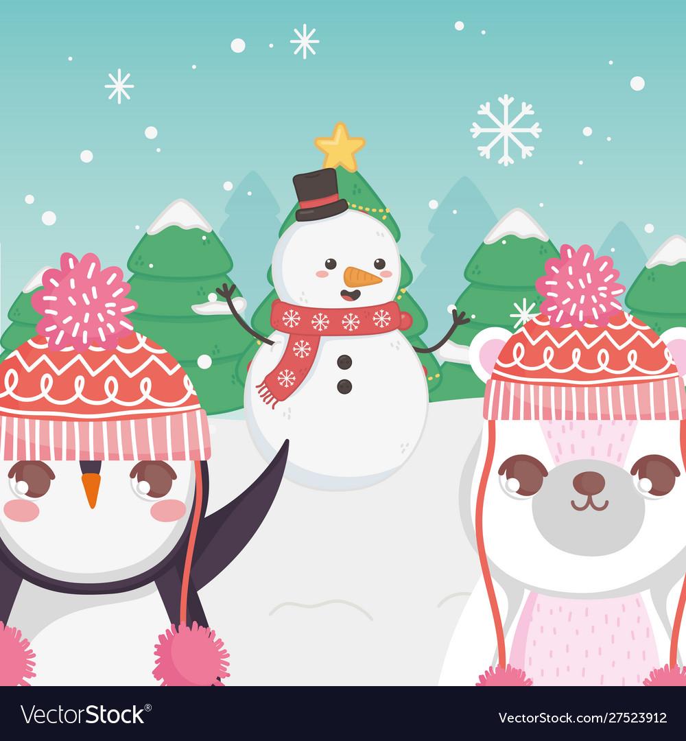 Cute polar bear snowman and penguin trees merry
