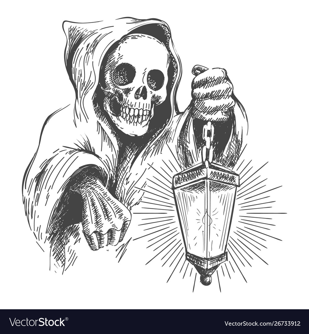 Death in a hood with lantern