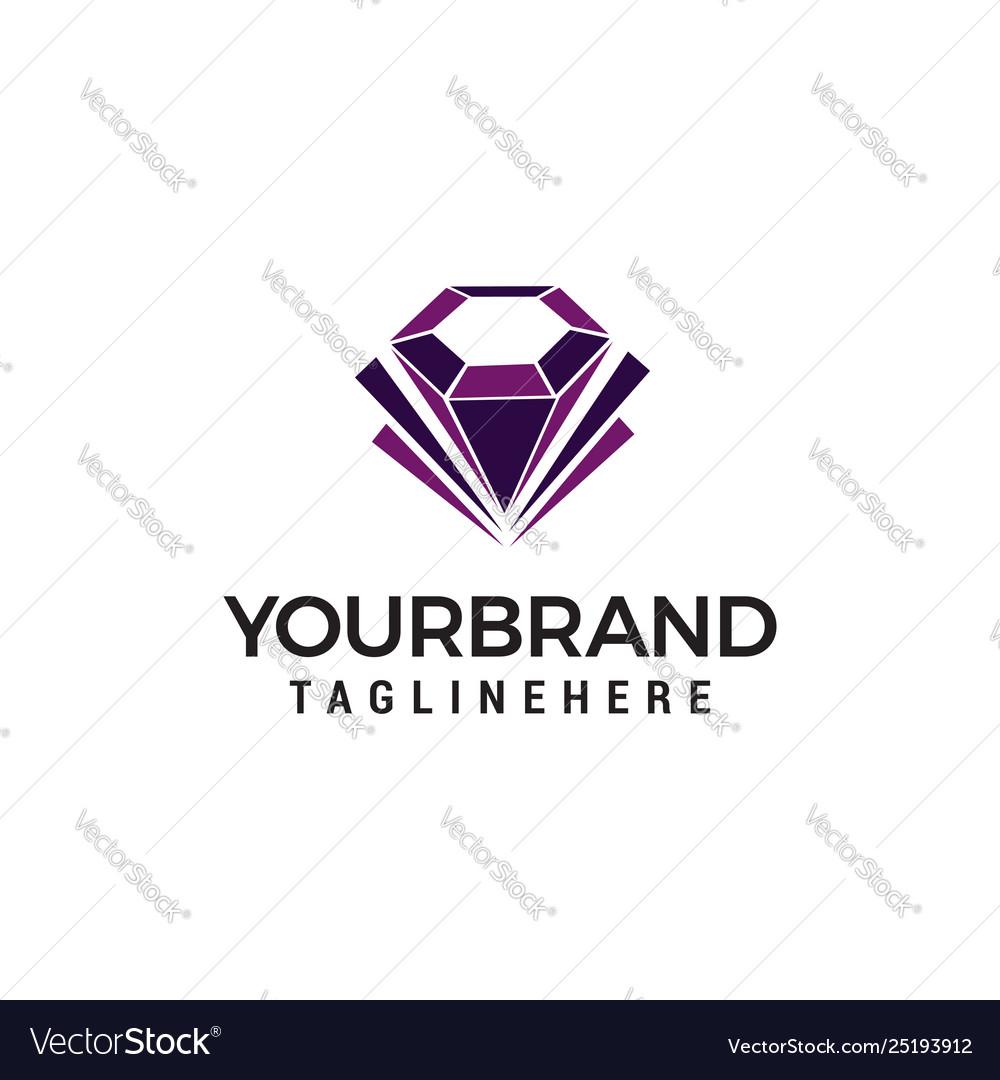 Diamond jewelry logo design concept template