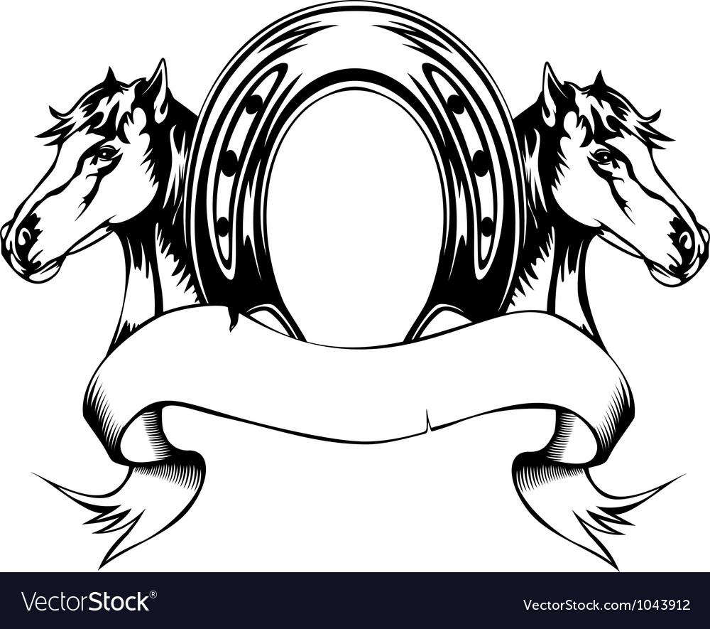 heads horses and horse shoe royalty free vector image rh vectorstock com horse head vector art horse head vector clipart
