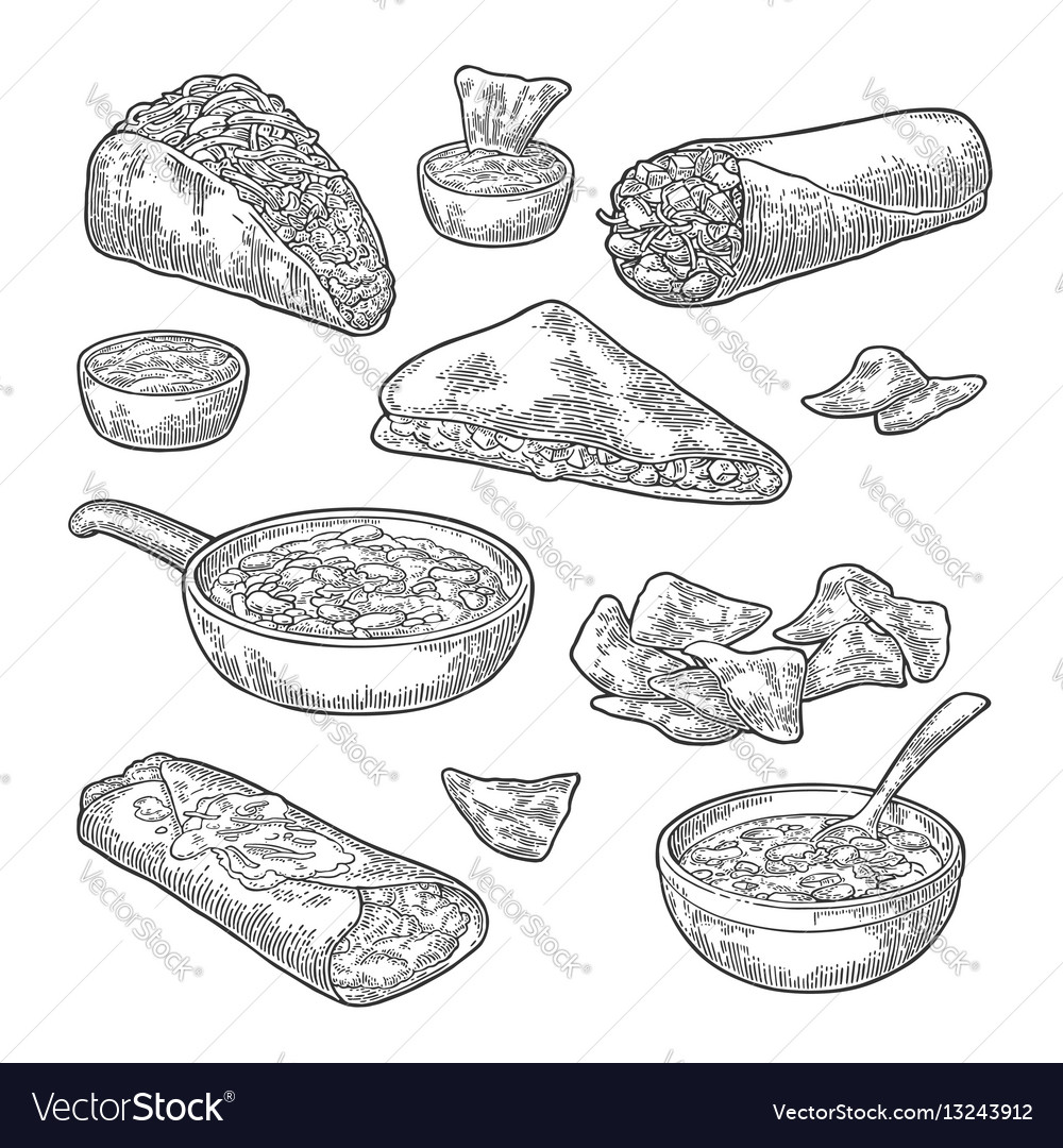 Mexican traditional food set with text message vector image