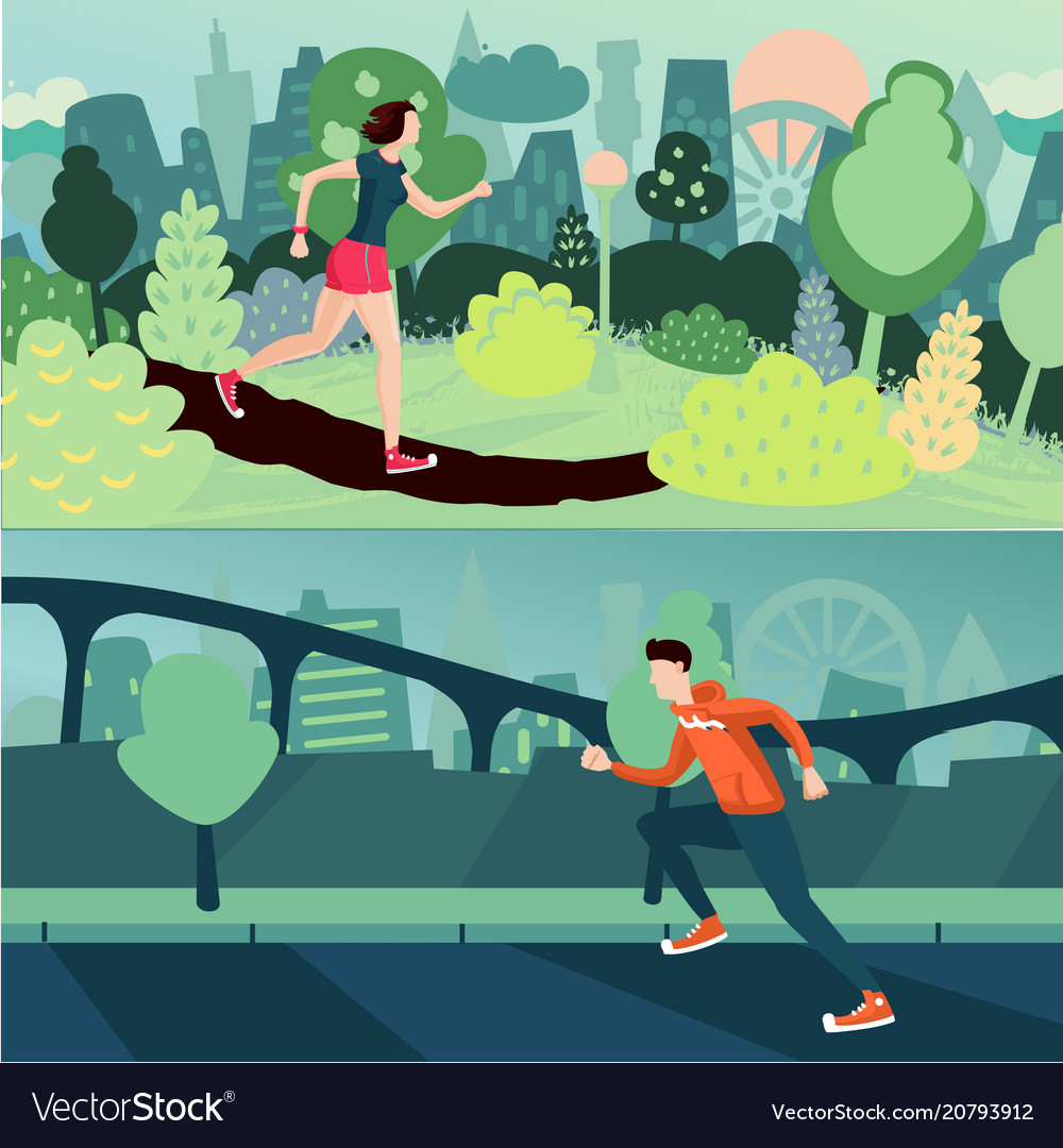 Running people morning run man and woman are