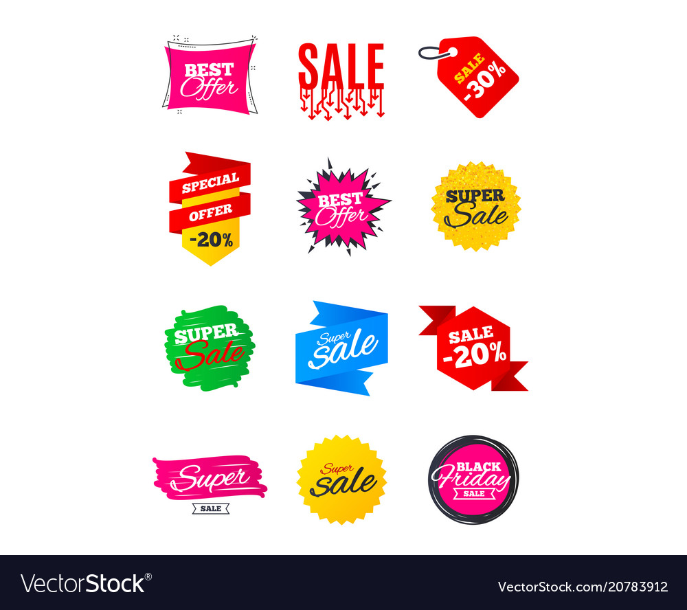 Sale banners best offers discounts tags