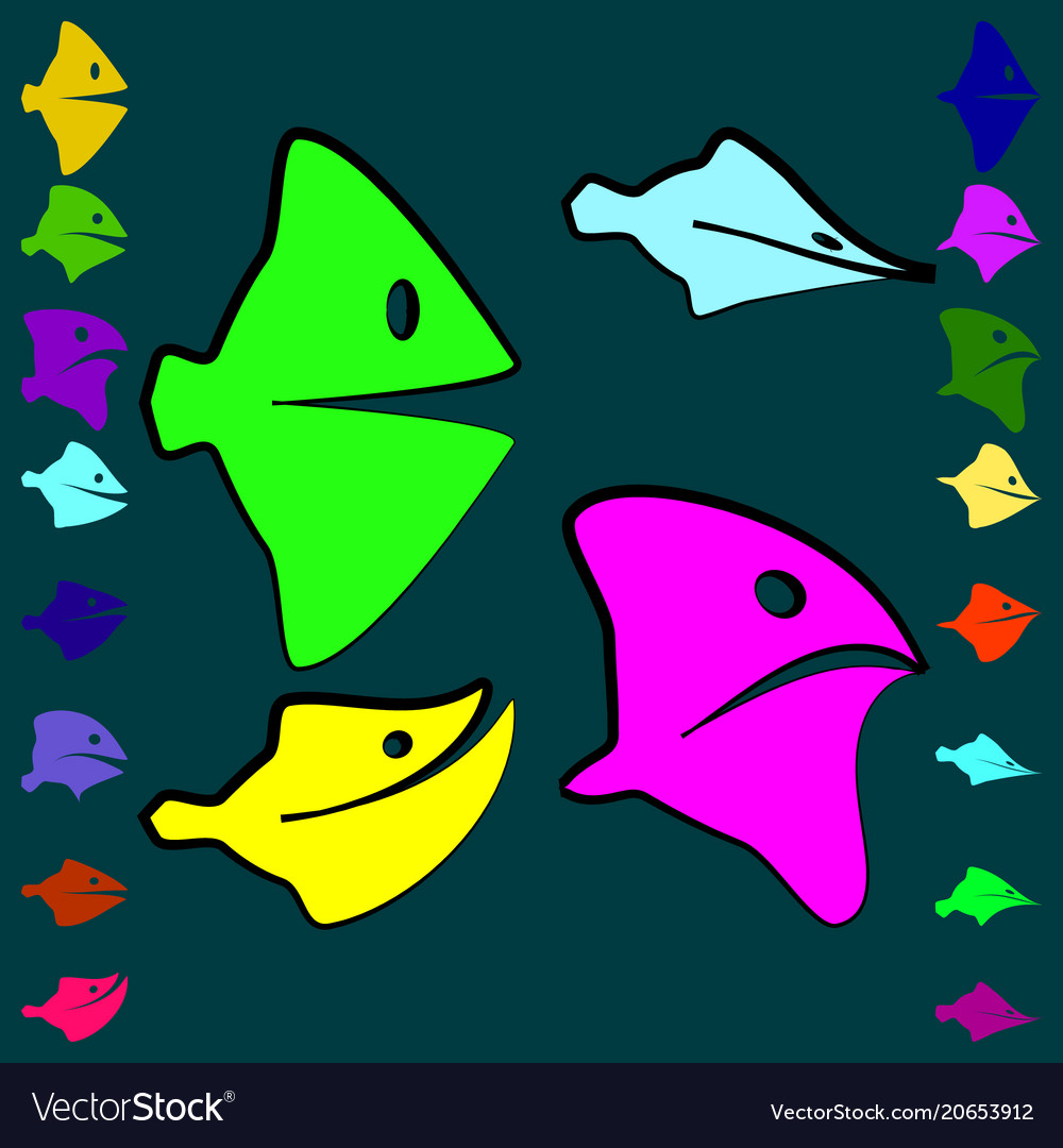 Set of good and evil fish for children