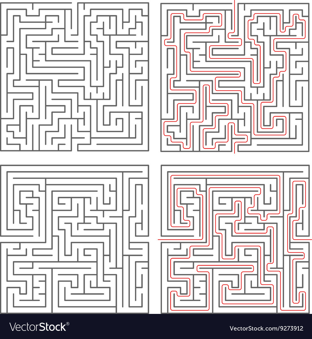 Two different mazes of medium complexity on white
