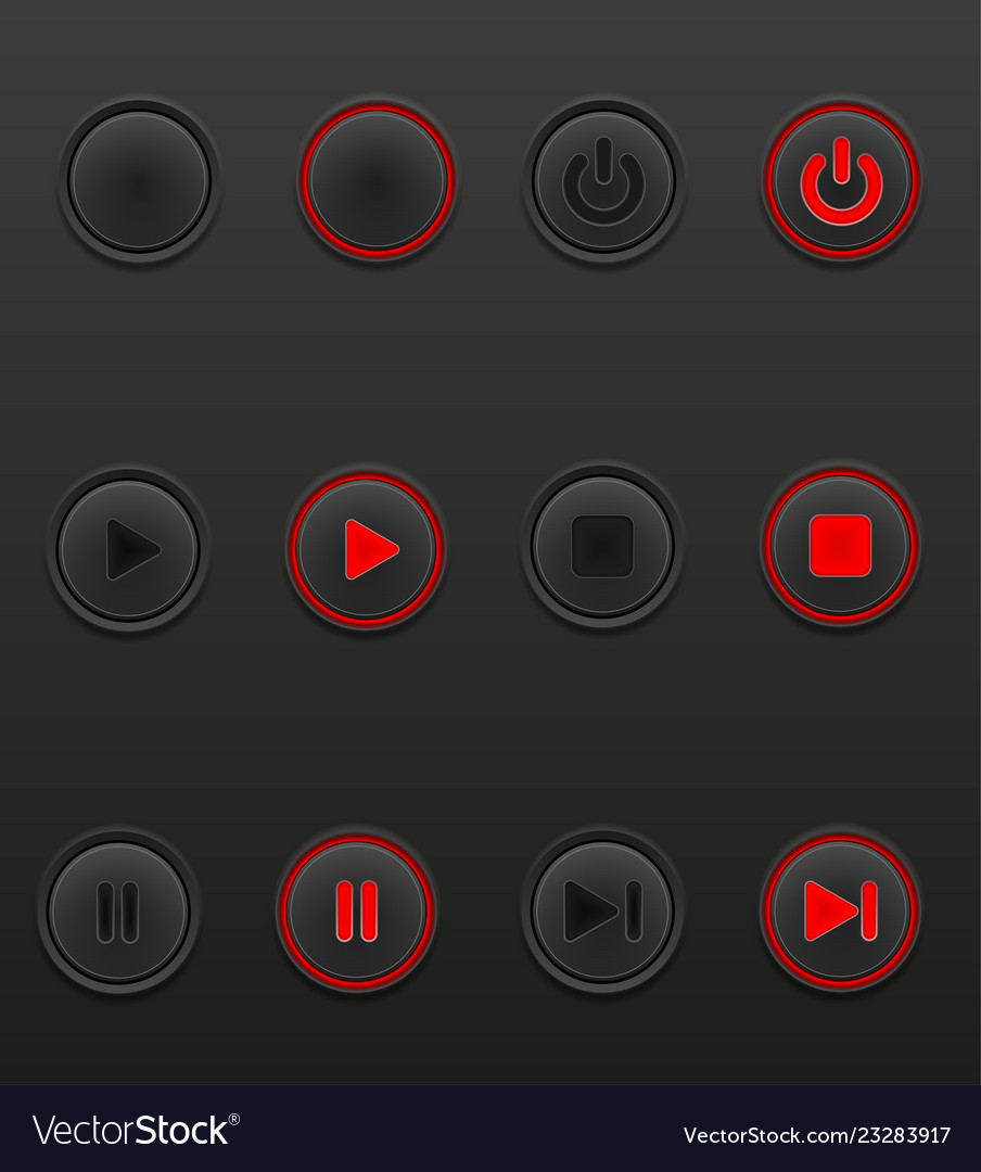 Black media button set icons on and off position