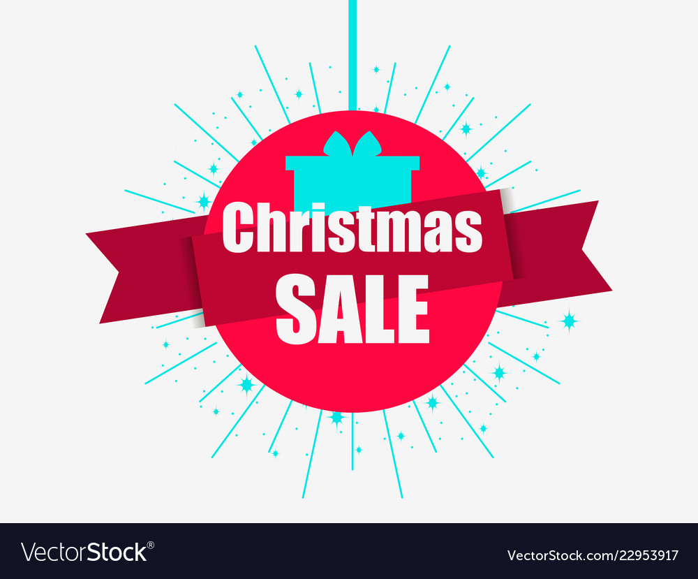 Christmas sale banner with gift box and ribbon