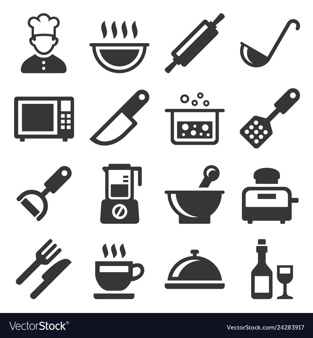 Cooking and kitchen icons set on white background