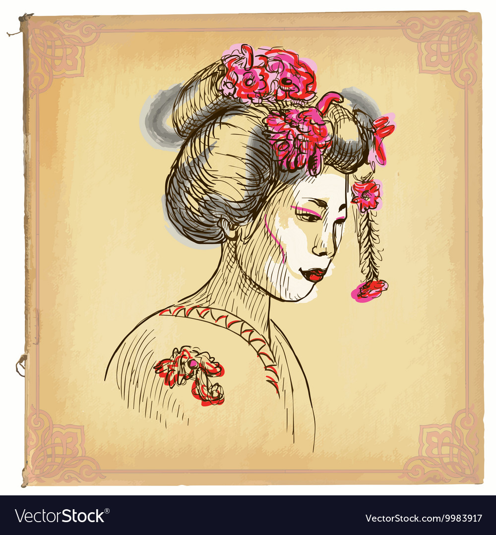 Geisha - An hand drawn sketch freehand colored Vector Image