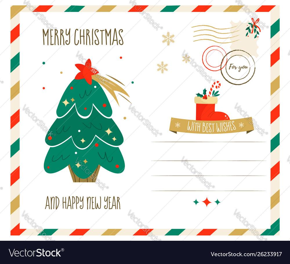 Holiday greeting postcard with christmas tree