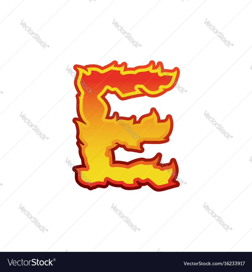 Letter e fire flames font lettering tattoo