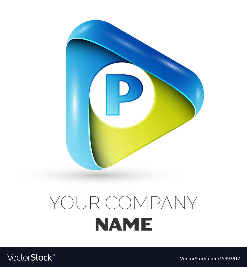 Realistic letter p logo colorful triangle