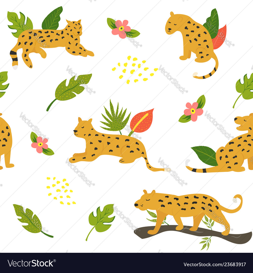 Seamless safari pattern with leopards and leaves
