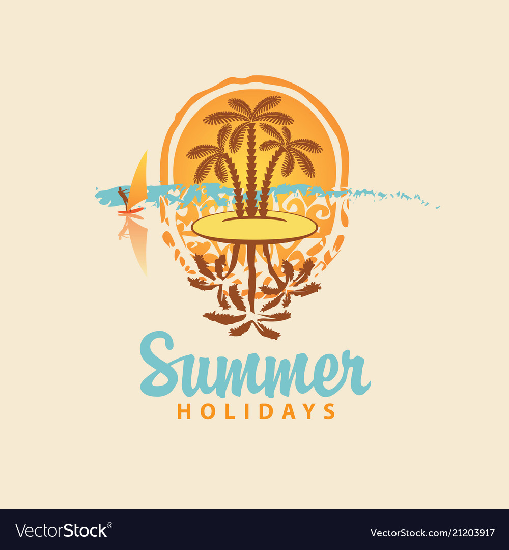 Summer travel banner with island and palm trees