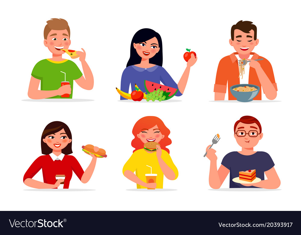 Various People Eating Fast Food And Healthy Food Vector Image