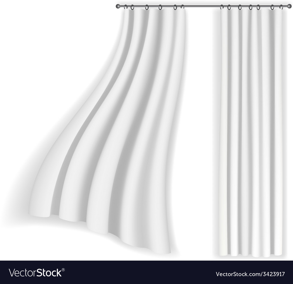 White curtains fluttering on a white background Vector Image