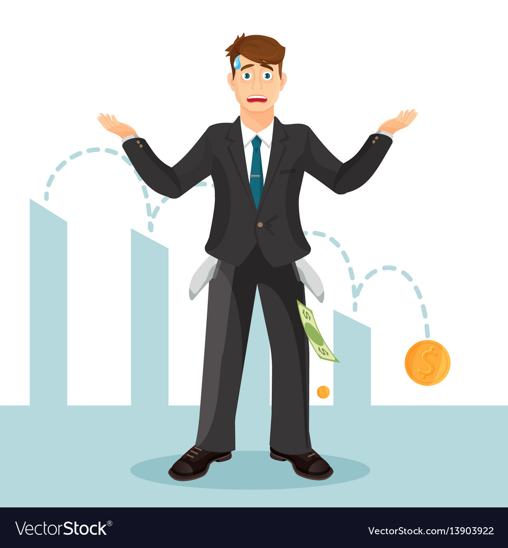 Devastated businessman makes helpless gesture man vector image