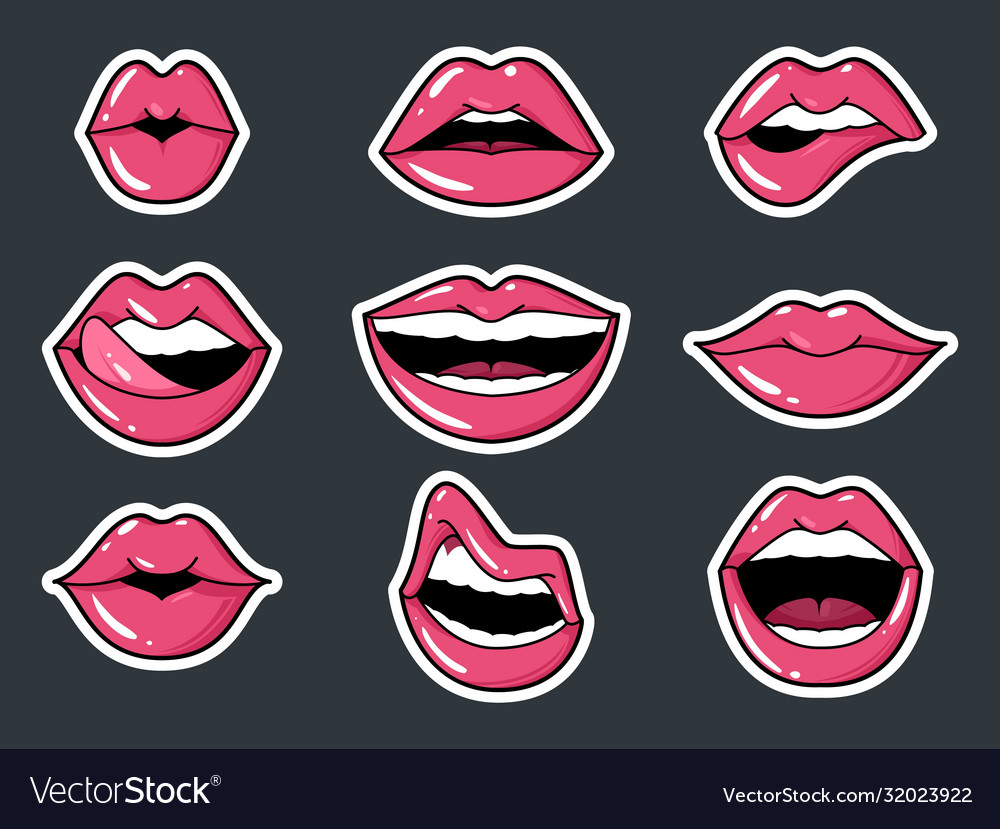 Lip stickers set patch female lips and