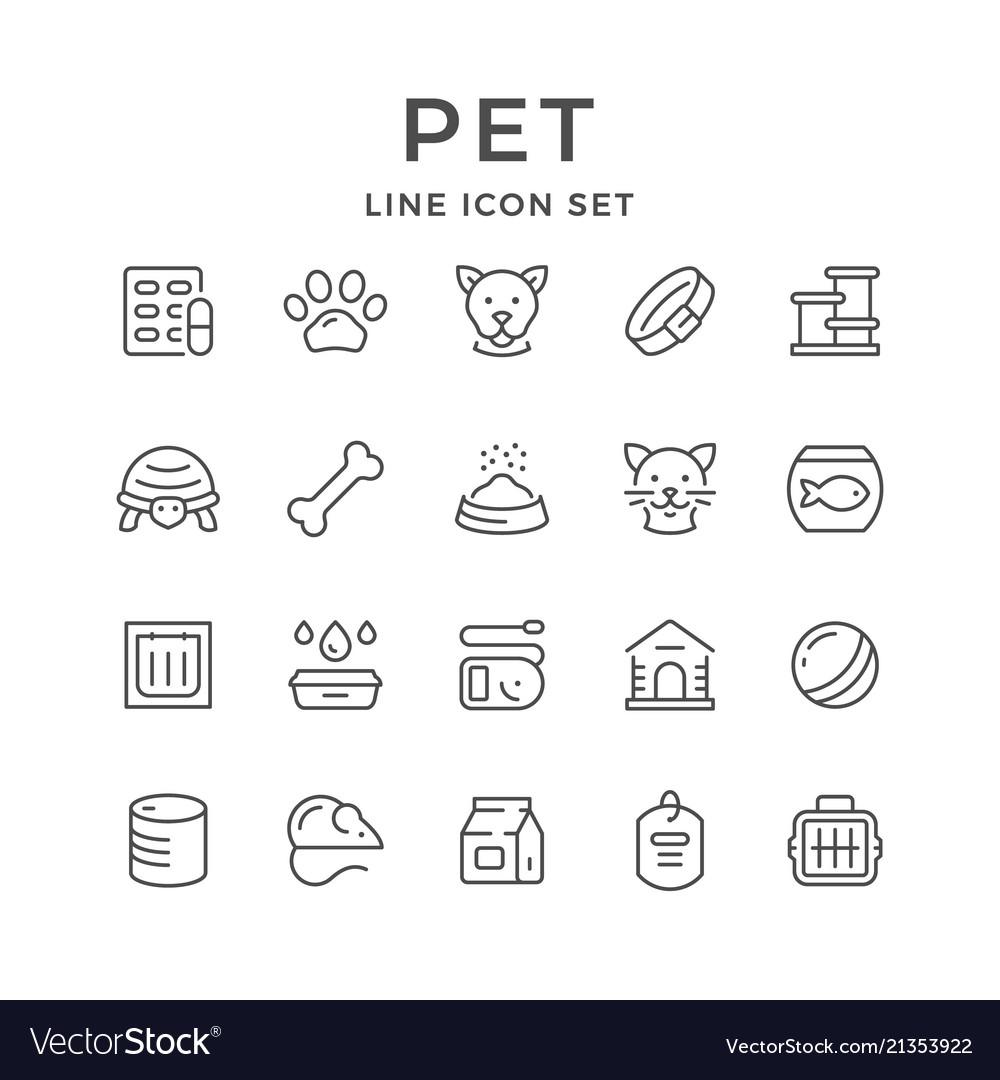 Set line icons of pet